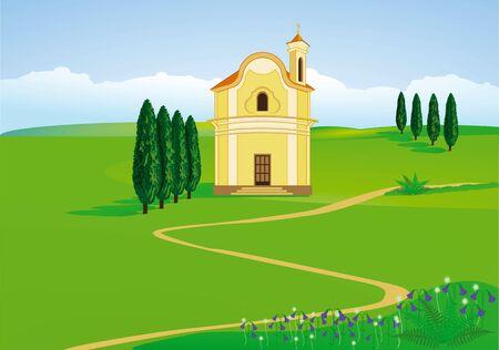 catholic wedding: mountain chapel Illustration