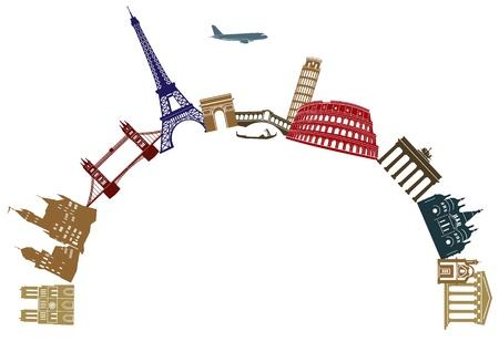 tourist information: Europe travel Illustration