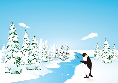 ice fishing: Penguin go fishing