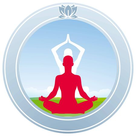 yoga meditation: Lotus Yoga caratteri Vettoriali