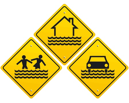hazard damage: Flood warning sign