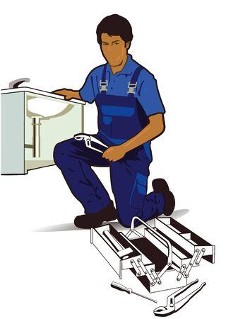 plumber tools: plumber at work Illustration