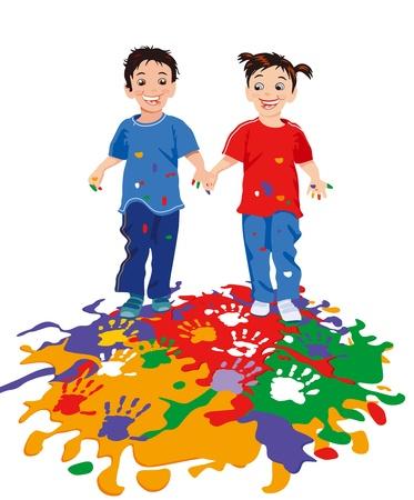 Les enfants tout en peinture Illustration