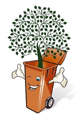 separacion de basura: cubo de basura ecológico