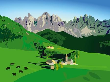 Montañas con prados alpinos Ilustración de vector