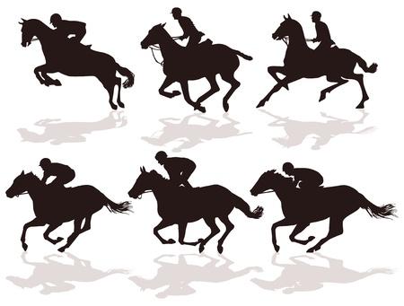 caballos corriendo: seis corredores