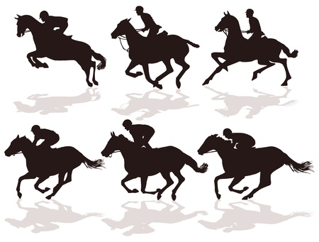horse racing: six riders