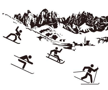 sledding: Winter sports white on black