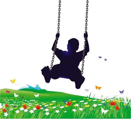 children at play: Swings in spring Illustration