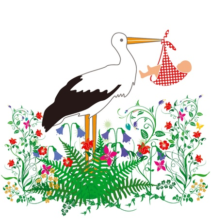 happier: Stork Baby and flowers Illustration