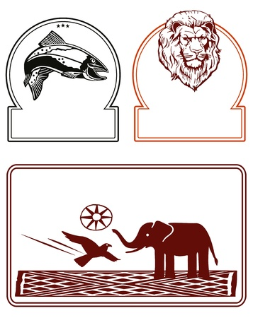 Elephant, lion, fish Vector