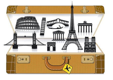 sightseeings: Europe travel suitcase Illustration