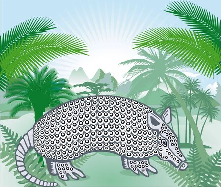 the americas: Armadillo in the Americas tropical forest Illustration