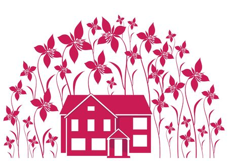 house building: House and flowers