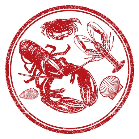 lobster isolated: Seafood characters Illustration