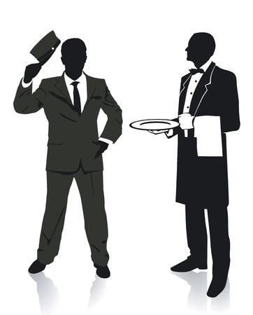 serveur avec plateau: Serveur et porter Illustration