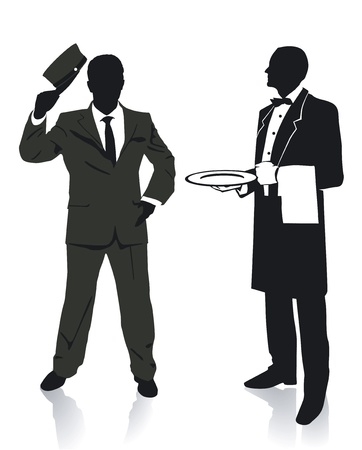 Waiter and porter Vector
