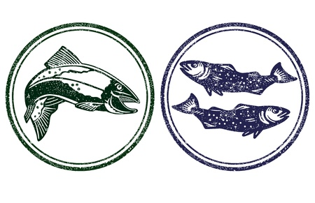 salmon fish: fishes sign Illustration