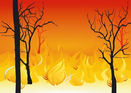bosbrand: bosbranden Stock Illustratie