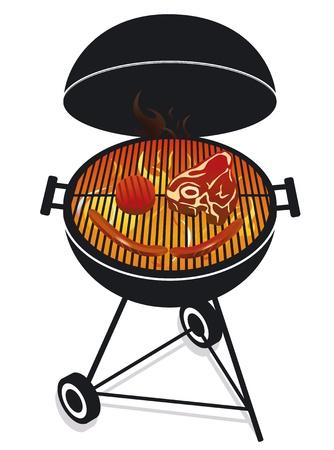 carnes: ilustraci�n de la barbacoa f�cil aislados