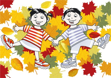 Children playing in the leaves Stock Vector - 12062408