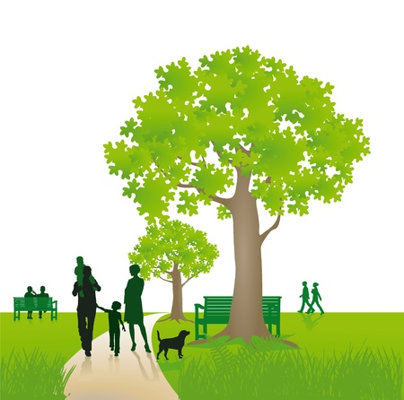 dog summer: Family walking in park