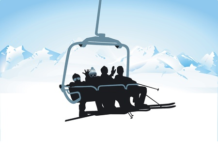 skiers: chairlift