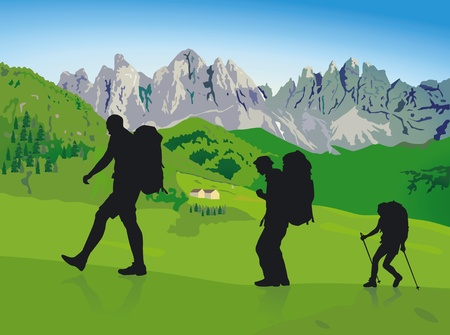 hillwalking Stock Vector - 12385223
