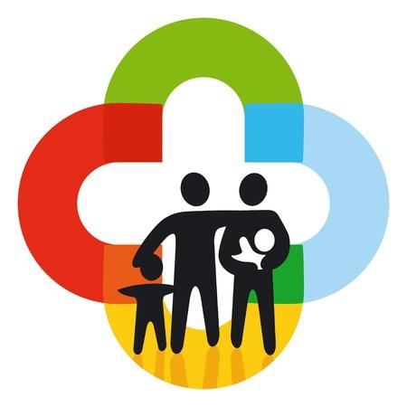 buena salud: Familia en los personajes de colores