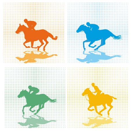 horse riding: four race horses Illustration