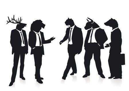 bull fight: animal business Illustration