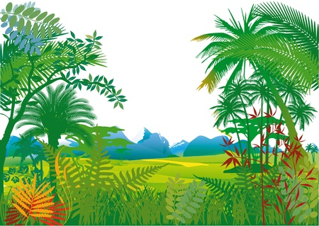 Jungle with palm trees Vector