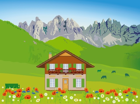 House in front of mountain backdrop Vector