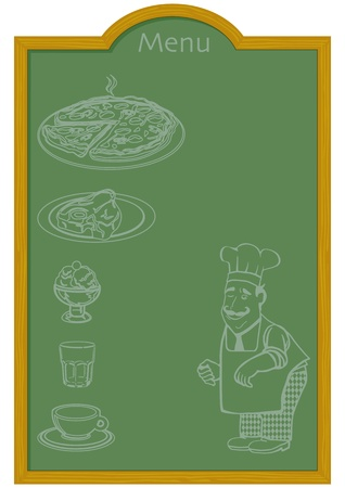 pizzeria label: Menu on Chalkboard