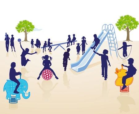 bimbi che giocano: Parco giochi per bambini sul Vettoriali