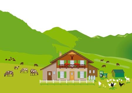 tirol: mountain Farm Illustration