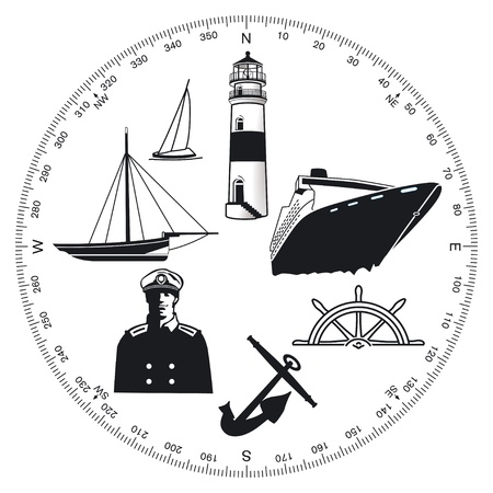 Maritime symbolen Vector Illustratie