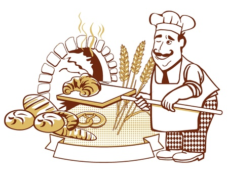 bread roll: Baker at the oven Illustration