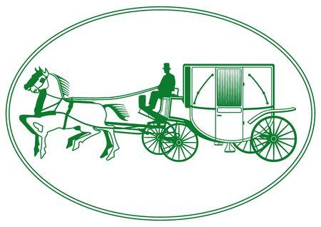 marrying: White Wedding Carriage Illustration