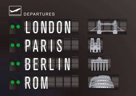 Departure display with sights Vector