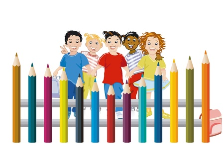 colored pencils: Children with colored pencils
