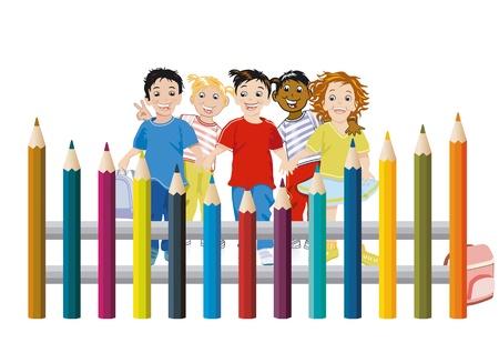 escuela infantil: Los niños con lápices de colores