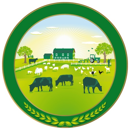 cows: Green Agriculture badge Illustration