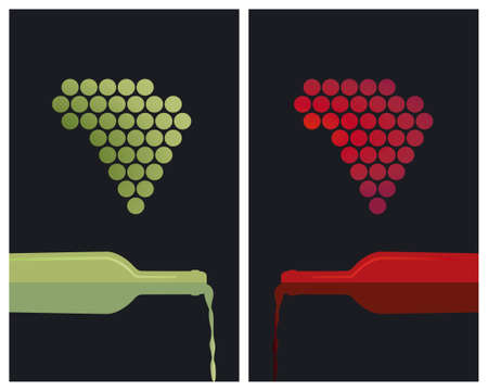white riesling grape: White and red wine with grapes Illustration