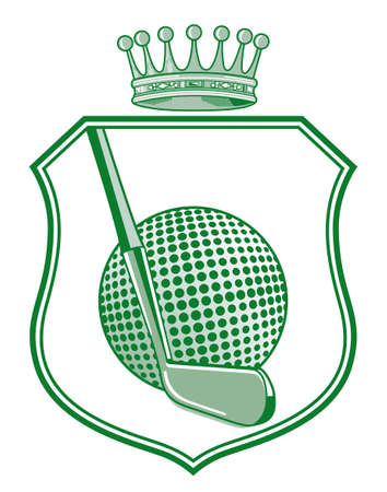 Shield with golf ball and crown Vector