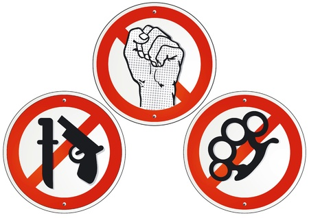 violate: no violence no weapons Illustration