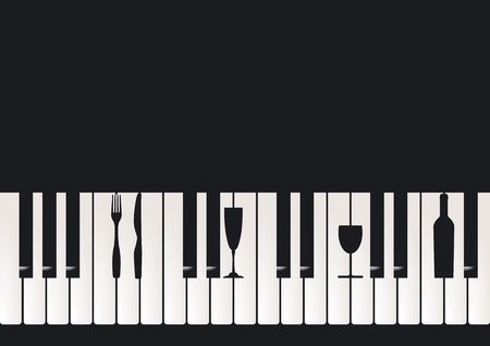 jazz club: Piano Restaurant Illustration