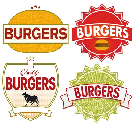 Burgers Label Stock Vector - 12492385