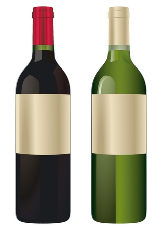 green glass bottle: two wine bottles
