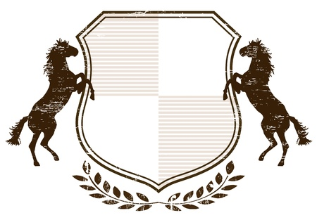 horseback riding: Coat of Arms with horses Illustration